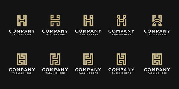 Set monogram eerste letter h logo sjabloon.