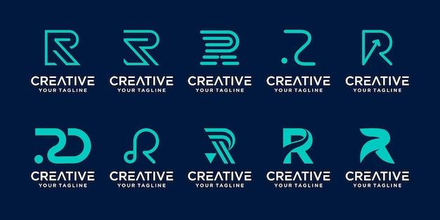 Set monogram eerste letter r logo sjabloon.