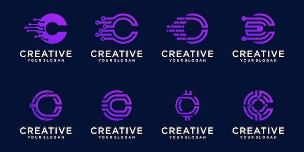Set monogram letter c logo sjabloon