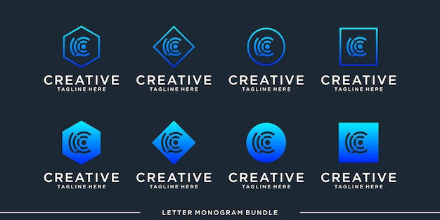 Set monogram pictogram initiaal een logo ontwerpsjabloon
