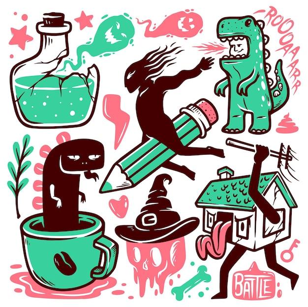 Set monster doodle illustraties