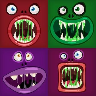 Set monsters monden griezelig en eng. grappige kaken tanden tong wezens uitdrukking monster horror