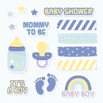 Set mooie plakboekelementen voor babydouche