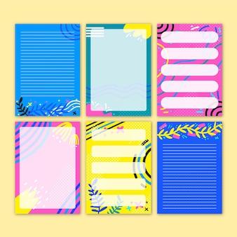 Set mooie plakboeknotities en kaarten