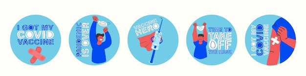 Set motiverende stickers ik heb mijn covid-vaccinpandemie is voorbij het heldenvaccin