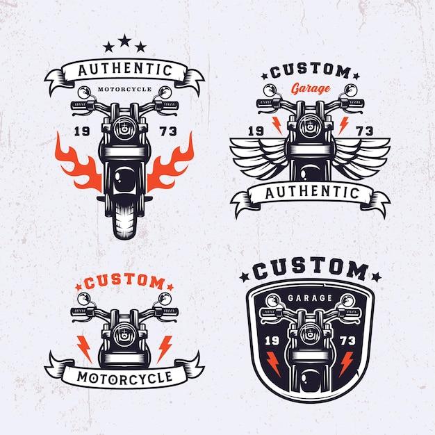 Set motorfiets vintage logo-ontwerp