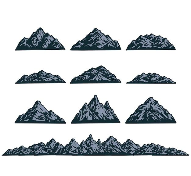 Set mountais, handgetekende lijnstijl met digitale kleur