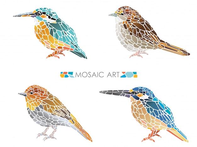 Set mozaïek kleine vogels geïsoleerd. vector illustratie.