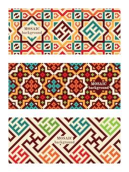 Set mozaïekbanners met tegels. moderne geometrische texturen.