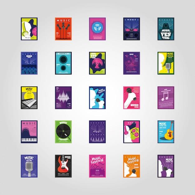 Set muziekfestival posters