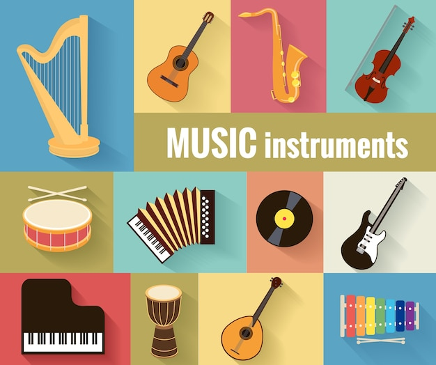 Set muziekinstrumenten harp, gitaar, saxofoon, viool, trommel, accordeon, piano en banjo. geïsoleerd op een aparte achtergrond.