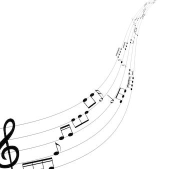 Set muzieknoten op vijf-regelige kloknotatie