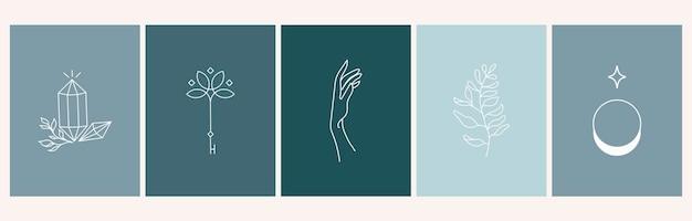 Set mystieke abstracte logo-ontwerpsjablonen in eenvoudige lineaire stijl handen planten maan en kristal