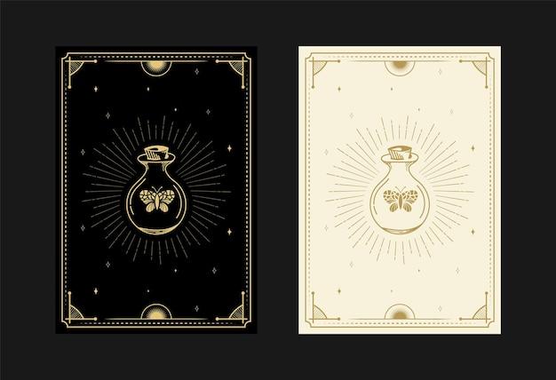 Set mystieke tarotkaarten alchemistische doodle symbolen gravure van magische pot vlinderkristallen