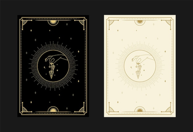 Set mystieke tarotkaarten alchemistische doodle symbolen gravure van sterren diamant en kristallen