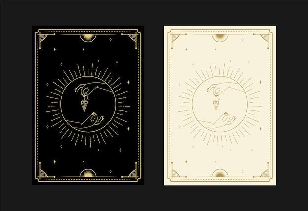 Set mystieke tarotkaarten alchemistische doodle symbolen gravure van sterren diamant stralen en kristallen