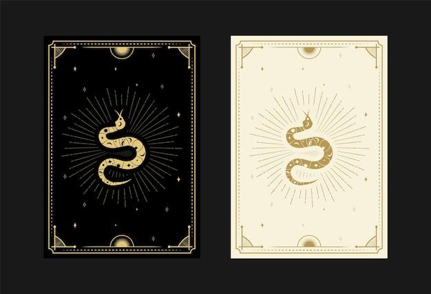 Set mystieke tarotkaarten alchemistische doodle symbolen gravure van sterren stralen slangen en kristallen
