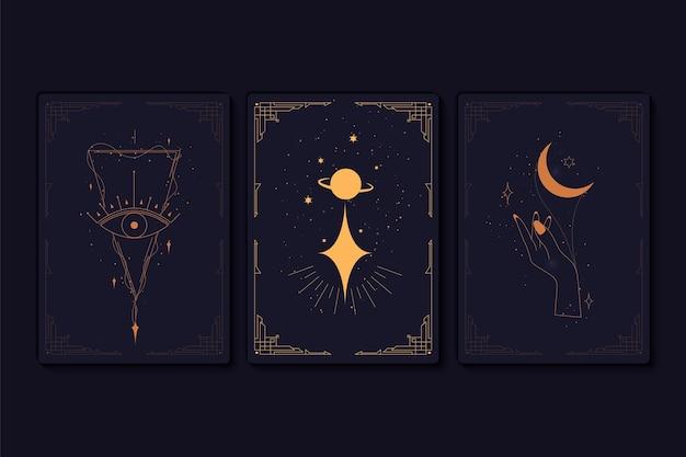 Set mystieke tarotkaarten. elementen van esoterische, occulte, alchemistische en heks symbolen. sterrenbeelden. kaarten met esoterische symbolen. silhouet van handen, sterren, maan en kristallen. vector illustratie