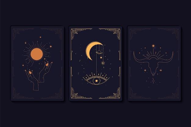 Set mystieke tarotkaarten elementen van esoterische occulte alchemistische en heksensymbolen