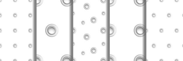 Set naadloze patronen met oogjes metalen polka dot met imitaties van gaten