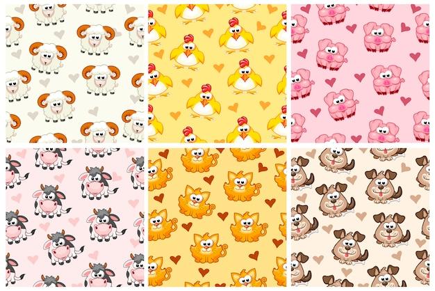 Set naadloze patroon van landbouwhuisdieren, cartoon