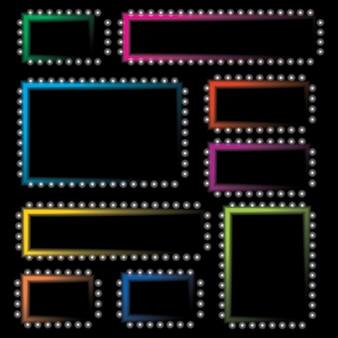 Set neon gekleurde frames. vectorillustratie.