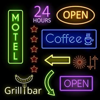 Set neon gloed borden. koffie, open en motel. uithangbord, aanwijzer. vector illustratie