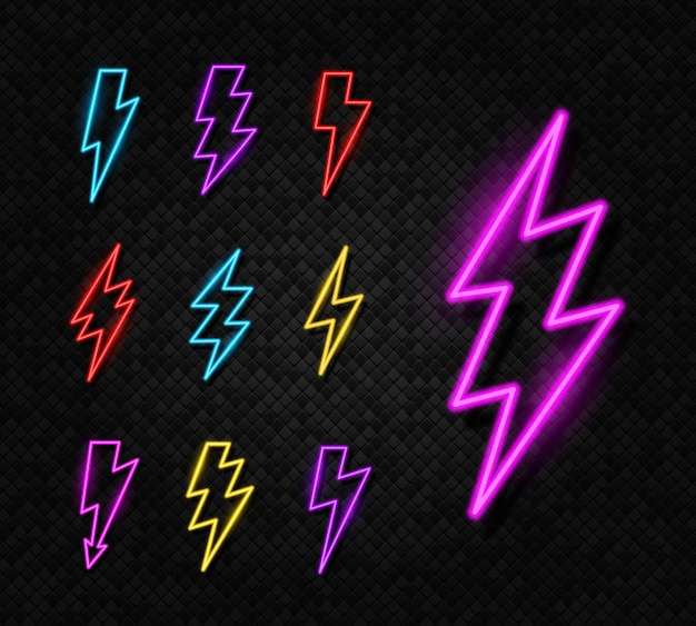Set neon gloeiende verlichting bliksemschicht pictogram donder en elektriciteit teken