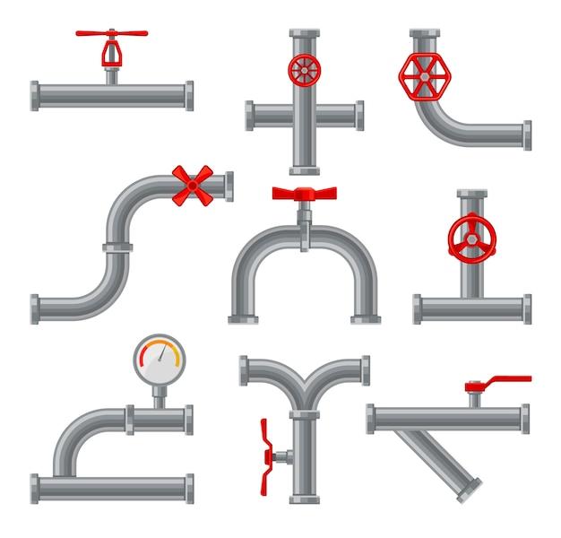 Set nieuwe waterleidingen met een rode opening