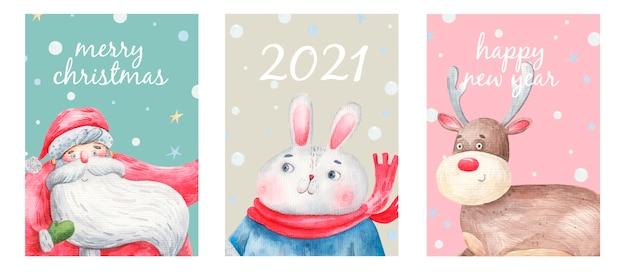 Set nieuwjaar en kerstkaarten, ansichtkaarten, schattige karakters, kerstman, herten, konijntje.