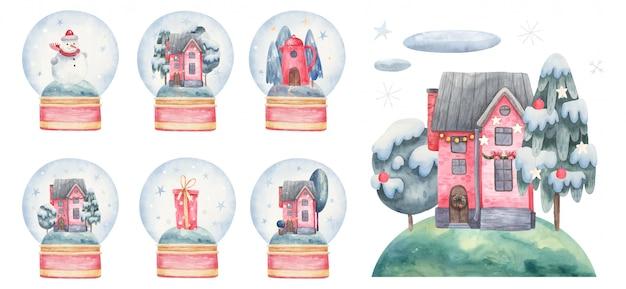 Set nieuwjaars- en kerstballen met sneeuw, in het huis, bomen, geschenken, bomen, landschappen. kinder aquarel illustratie, print ontwerp, ansichtkaarten