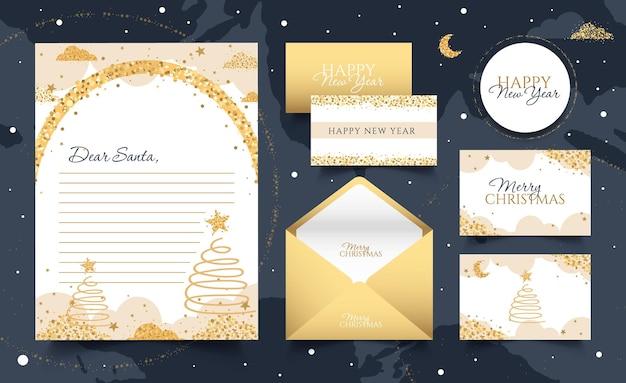 Set nieuwjaarskaarten brief aan de kerstman envelop