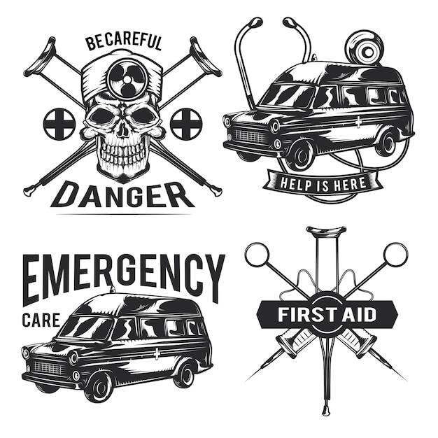 Set noodemblemen, etiketten, insignes, logo's.