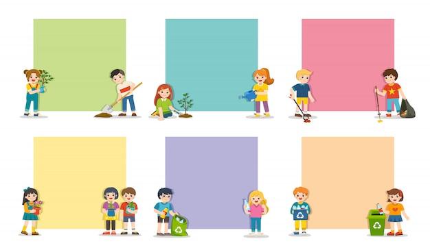 Set note of kids geplant en jonge bomen water geven, vuilnis en plastic afval verzamelen voor recycling. red de aarde.