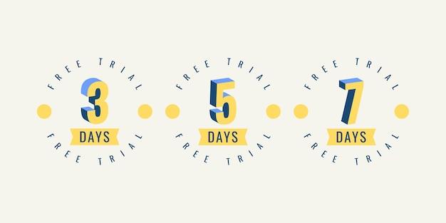 Set nummer 3 5 en 7 dagen gratis proeflabelsjabloonontwerp