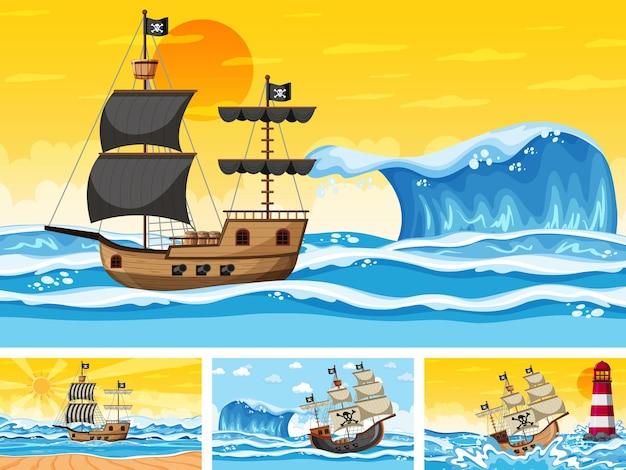 Set oceaanscènes op verschillende tijdstippen met piratenschip in cartoonstijl