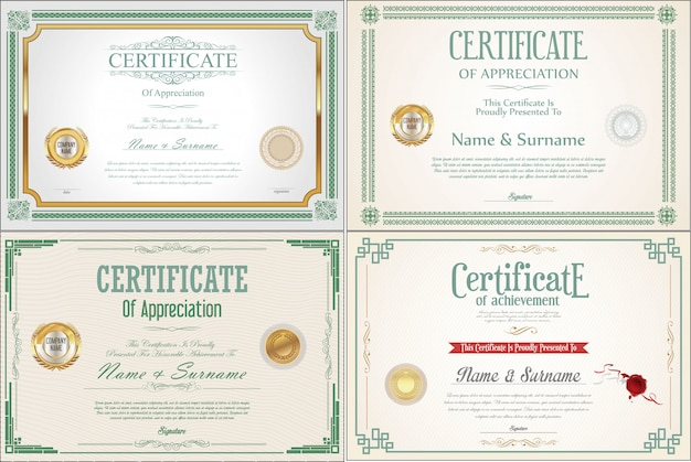 Set of achievement-certificaat met zegels