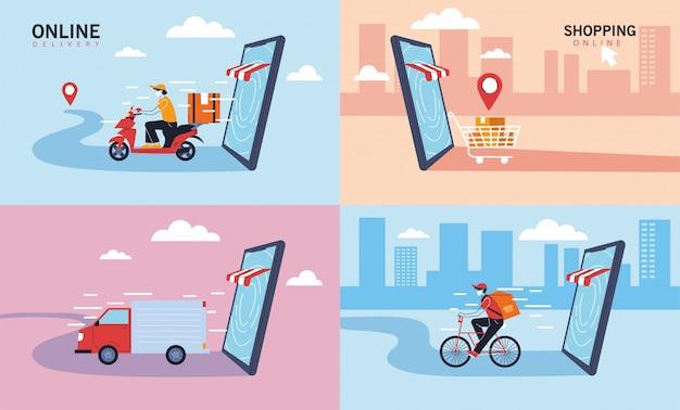 Set ofo pictogrammen bezorgservice, transport en logistiek van digitaal winkelen