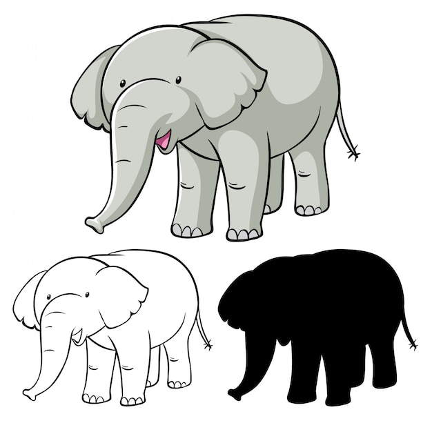 Set olifant cartoon