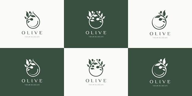 Set olijflogo-inspiratie