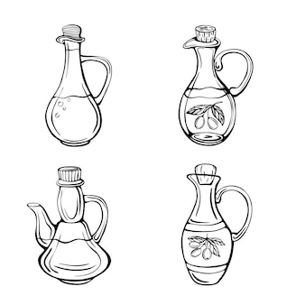 Set olijfolieflessen geïsoleerd op witte illustratie