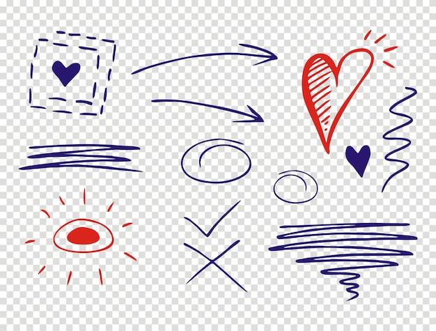 Set onderstreepslagen in verschillende vormen in doodle-stijl