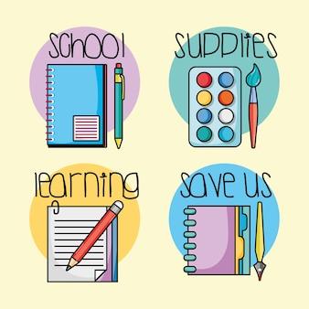 Set onderwijs school gebruiksvoorwerpen pictogrammen
