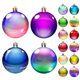 Set ondoorzichtige kerstballen van verschillende kleuren