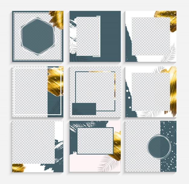 Set ontwerp achtergronden sjabloon voor sociale media post frame.