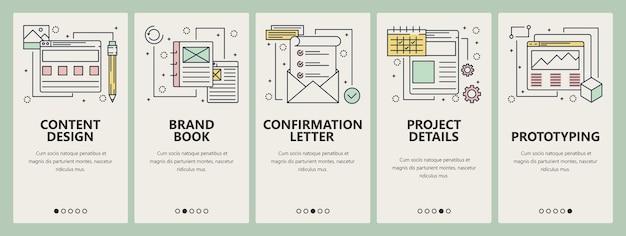Set ontwerp project concept banners. contentontwerp, merkboek, bevestigingsbrief, projectdetails, prototypen van websitesjablonen. moderne dunne lijn platte symbolen, pictogrammen voor web, print.