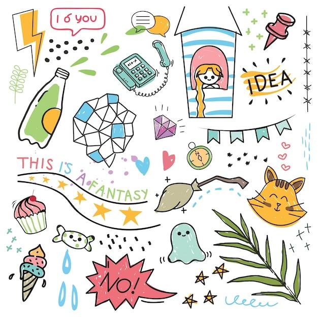 Set ontwerpelement en pictogram in doodle stijl