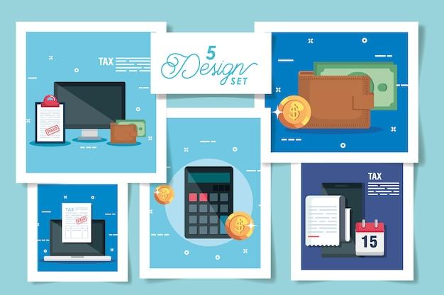 Set ontwerpen van belasting en pictogrammen