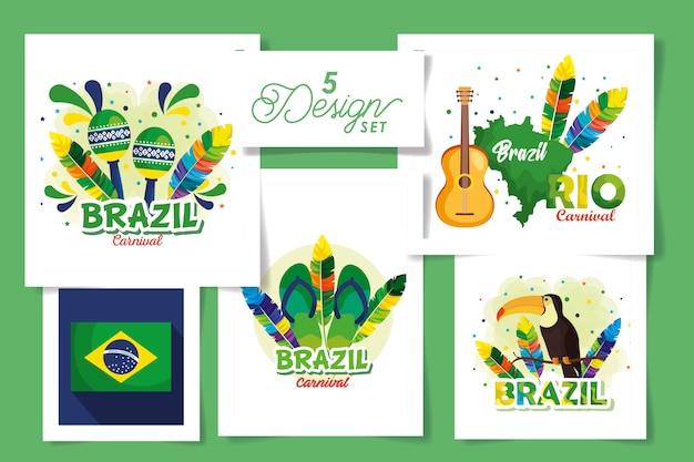 Set ontwerpen van brazilië carnaval