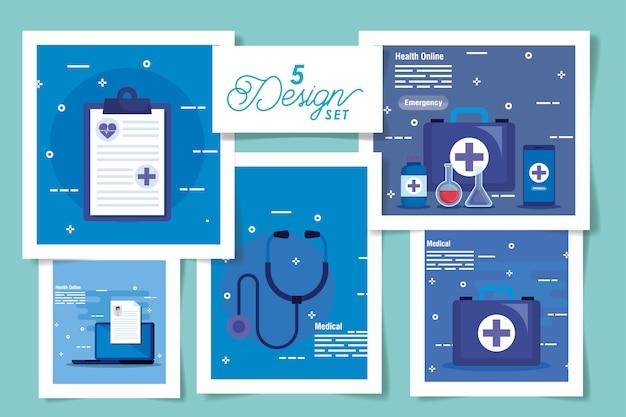 Set ontwerpen van medicijnen online en pictogrammen